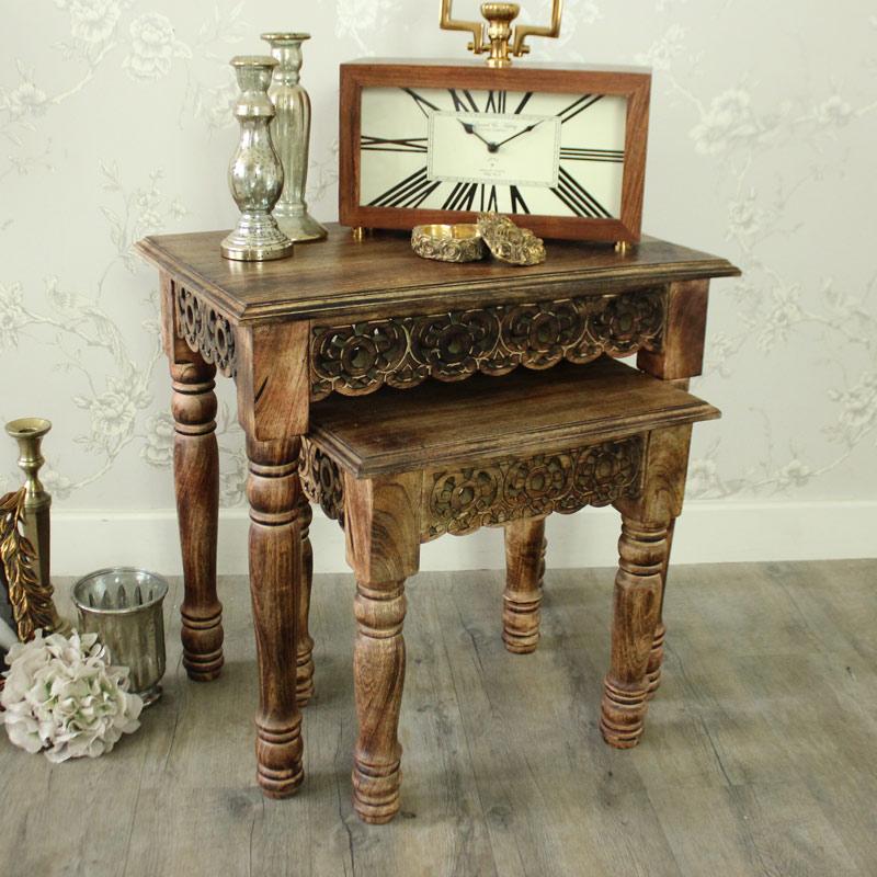 Set of 2 Brown Wooden Ornate Carved Nested Tables