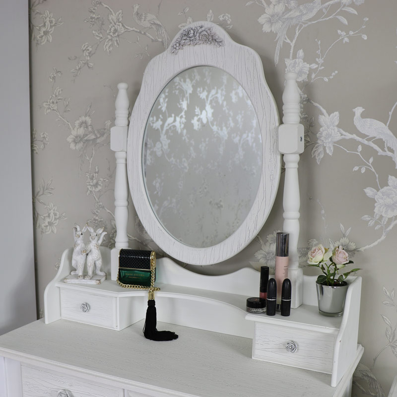 White Freestanding Tabletop Vanity Mirror  - Lila Range