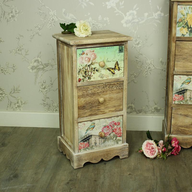 Natural Wooden Floral 3 Drawer Bedside Chest of Drawers - Belle Range