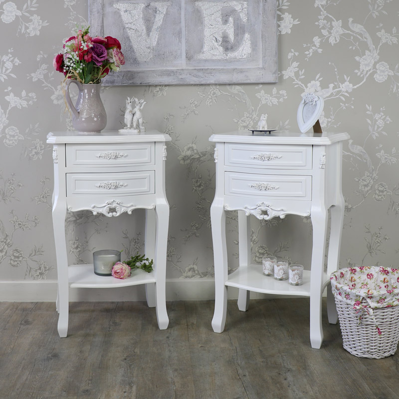 Rose Range - Bedroom Set, Pair of White 2 Drawer Bedside Table