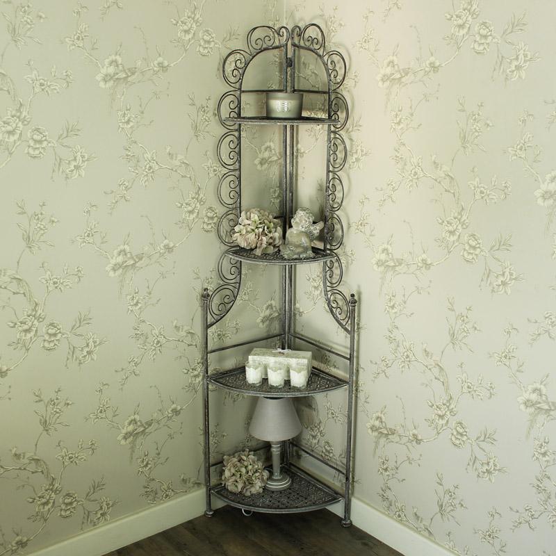 Tall Grey Ornate Iron 4 Tier Corner Shelf