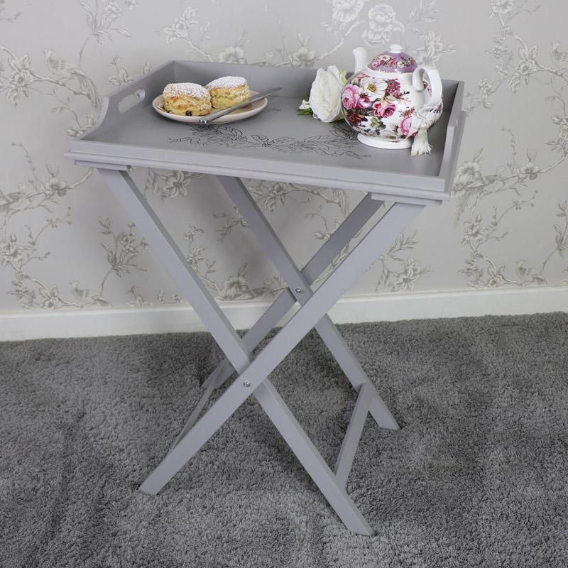 Grey Wooden Vintage Laurel Leaf Butler's Tray Table
