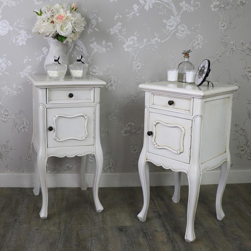 Set of 2 Antique Cream Vintage Bedside Lamp Tables - Limoges Range