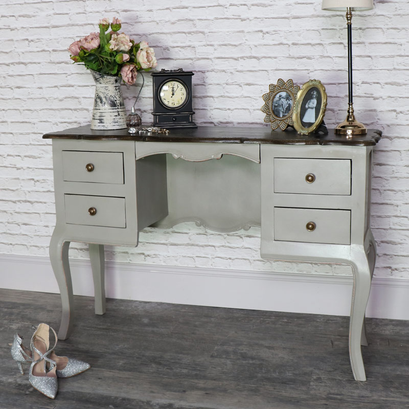 Large Vintage Grey Twin Pedestal Dressing Table/Desk - Leadbury Range