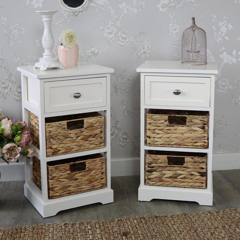 Pair Of Cream Wood & Wicker 3 Drawer Basket Storage Units - Hereford Cream Range