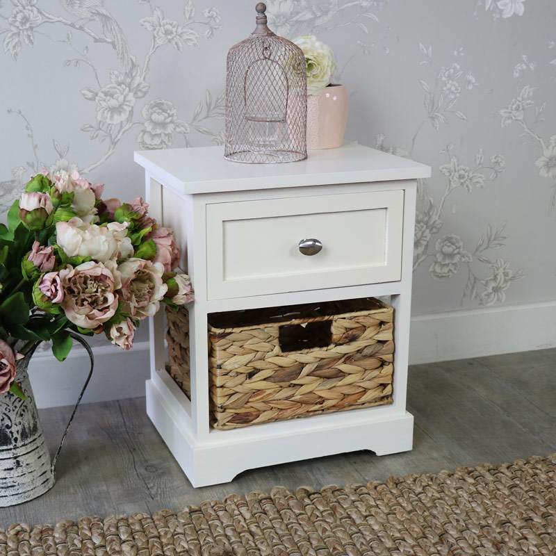 Cream Wood & Wicker Vintage Style Basket Storage Unit - Hereford Cream Range