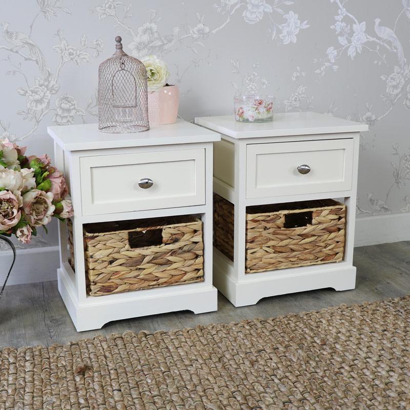 Pair Of Cream Wicker Vintage Style Storage Units - Hereford Cream Range