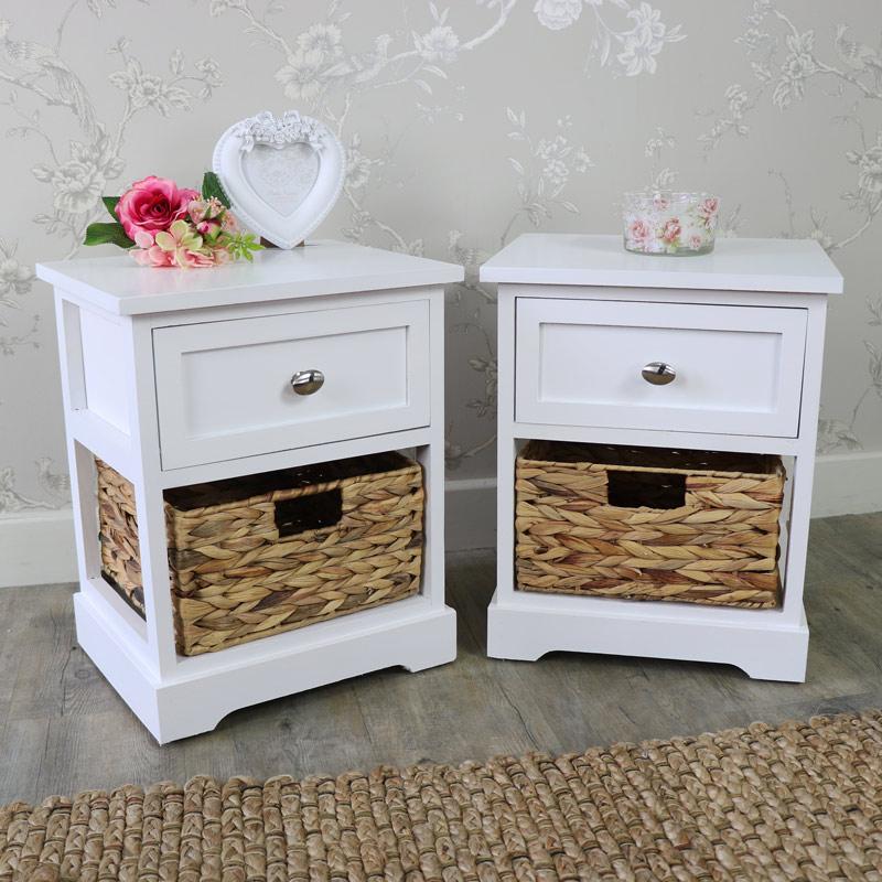 Pair Of White Wood & Wicker Vintage Style Basket Storage Unit - Salford White Range