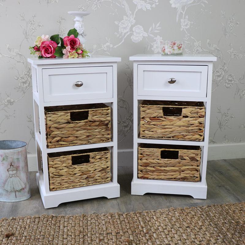 Pair Of White Wood & Wicker 3 Drawer Basket Storage Units - Salford White Range