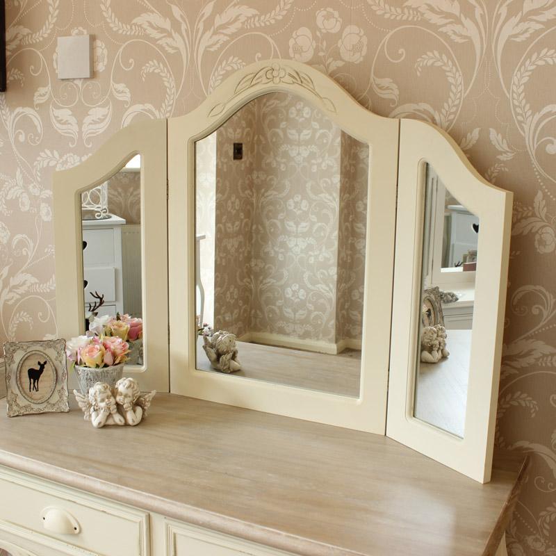 Cream Triple Freestanding Dressing Table Mirror - Country Ash Range