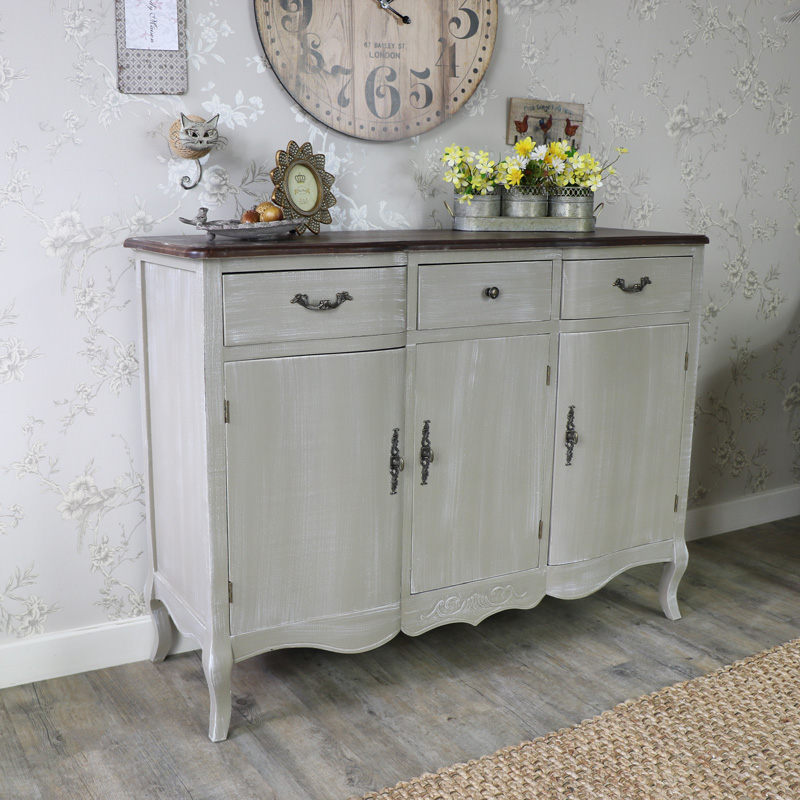 Large Ornate Grey Triple Sideboard Buffet Unit - French Grey Range