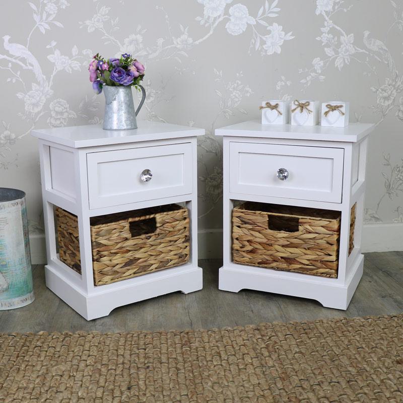 White Bedside Basket Drawer Storage Chest Set