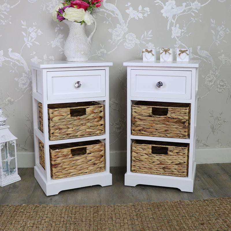 Pair Of White Wood & Wicker 3 Drawer Basket Storage Units - Salford Crystal White Range