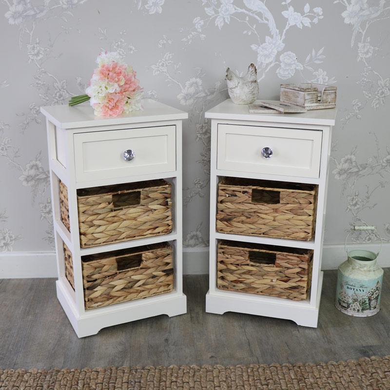 Pair Of Cream Wicker 3 Drawer Storage Units - Hereford Crystal Cream Range