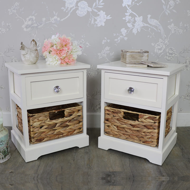Pair of Cream Wicker Storage Units - Hereford Crystal Cream Range