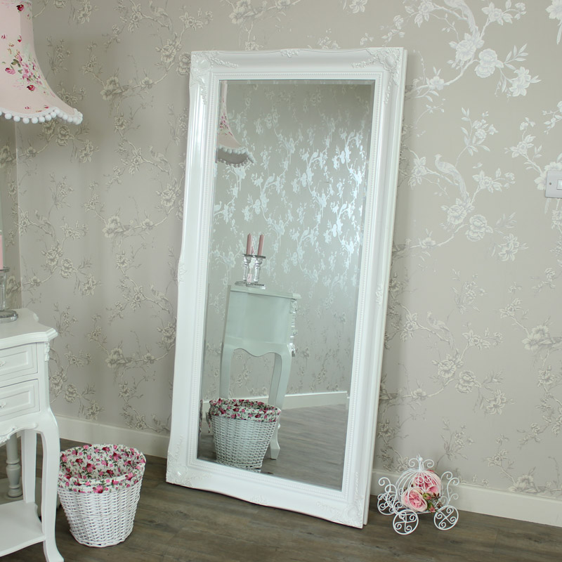 Large Ornate White Gloss Wall/Floor Mirror