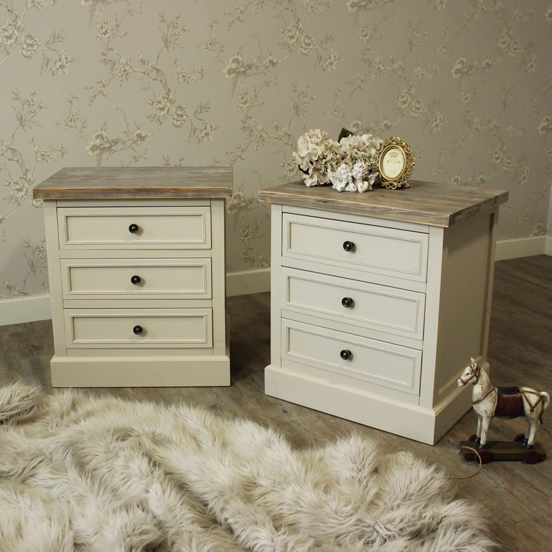 Cotswold Range - Bedroom Set, Pair of Three Drawer Bedside Chests