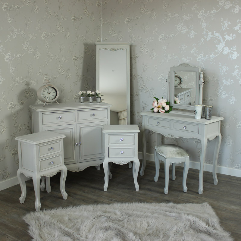 Elise Grey - Bedroom Set, Grey Sideboard, Cheval Mirror, Dressing Table, Mirror, Stool and 2 Bedside Tables