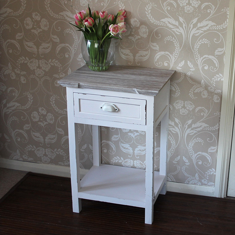 Lyon Range - Cream 1 Drawer Bedside Table with Shelf