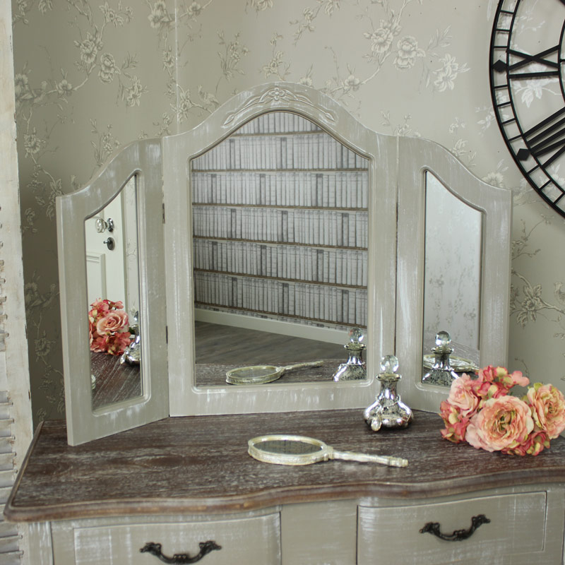 Ornate Grey Triple Dressing Table Vanity Mirror - French Grey Range