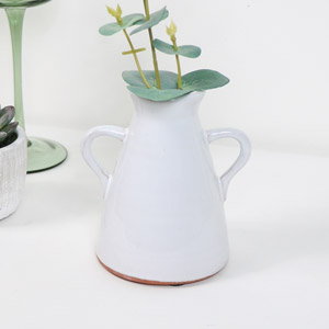 Small White Ceramic Jug Style Candle Holder