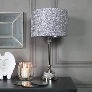 Silver Nickel Diamante Table Lamp