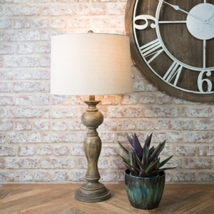 Tall Vintage Lamp with Beige Shade