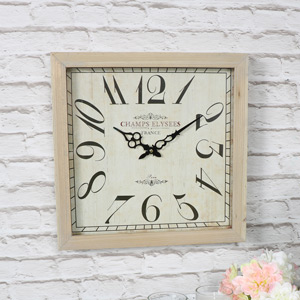 Square Wooden french Wall Clock