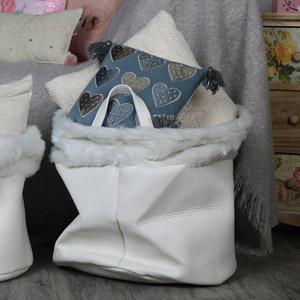 Large white leather storage basket