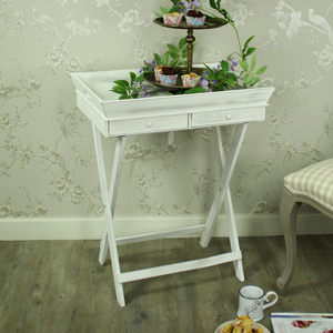 Large White Wooden Butler's Tray