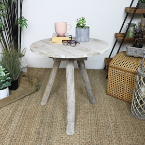 Rustic Wooden Tripod Side Table