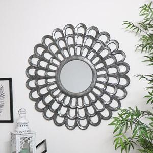 Grey Carved Wooden Flower Mirror