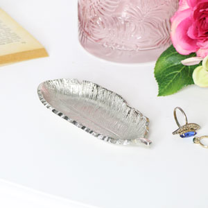 Antique Silver Feather Trinket Dish