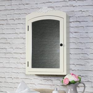 Ornate Cream Mirrored Bathroom wall cabinet