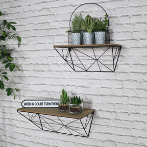Set of 2 Retro Wall Mounted Shelves