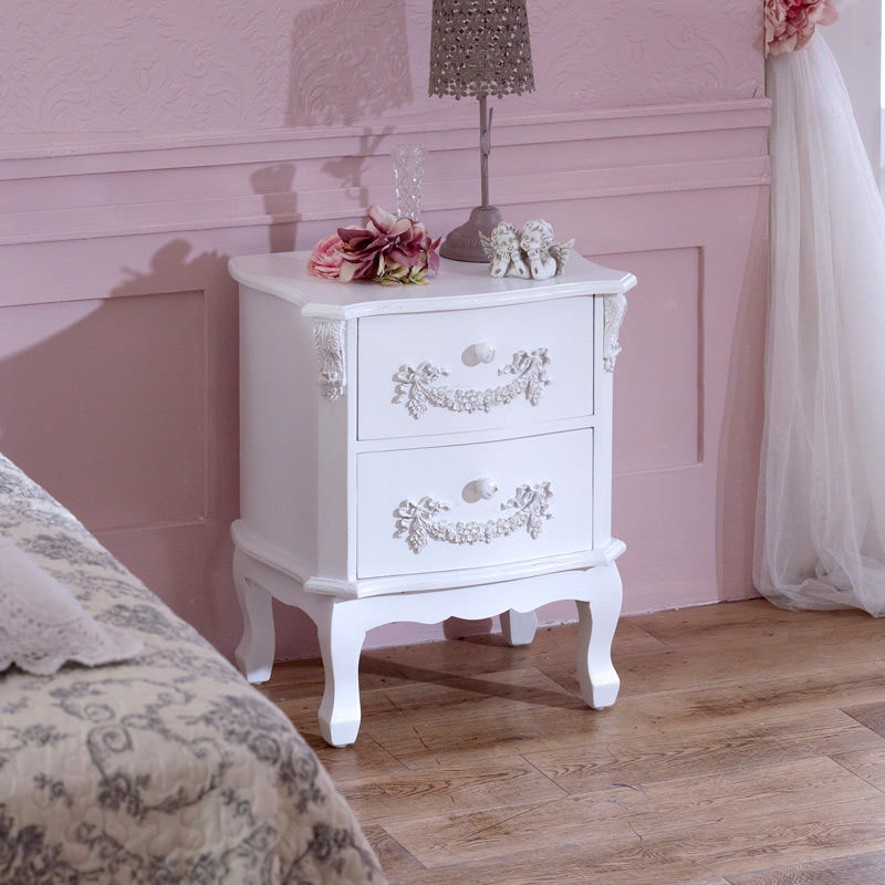 Antique White 2 Drawer Bedside Table - Pays Blanc Range