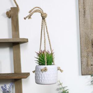 Hanging White Planter Pot