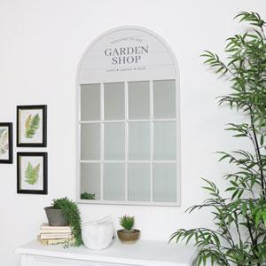 Grey Arched Window Mirror
