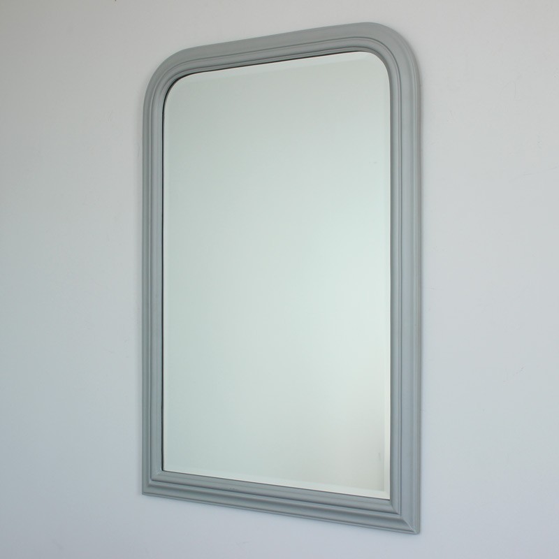 Vintage Grey Arched Bevelled Wall Mirror 70cm x 100cm