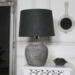Grey Round Table Lamp
