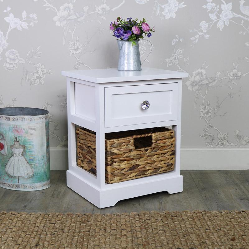 White Bedside Basket Drawer Storage