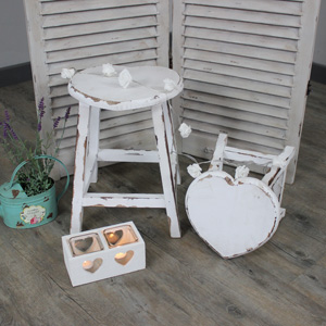 Pair of White Wooden Heart Stools