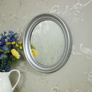 Silver Oval Frame Wall Mirror