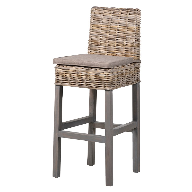 Rattan Padded Tall Bar Stool
