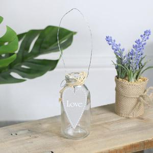 Small Glass Heart Bottle Vase - Love