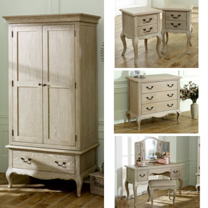 French Style Wardrobe, Chest of Drawers, Dressing Table Set & Bedside Tables - Brigitte Range