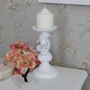 White Rose Detail Candle Holder