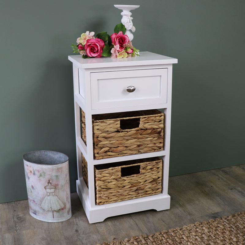 White Wood & Wicker 3 Drawer Basket Storage Unit - Salford White Range