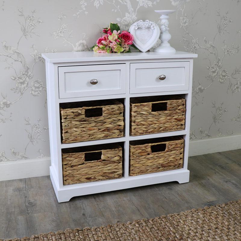 White Wood & Wicker 6 Drawer Basket Storage Unit - Salford White Range